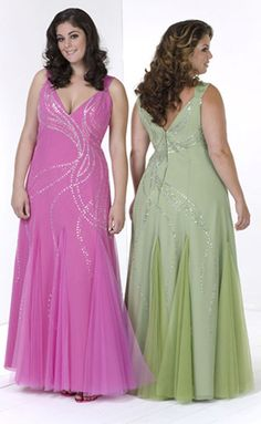 I remember going to prom and having to have a dress made... In 1987 it was over 300 dollars and it was UGLY. I'm so happy for plus-size teen girls that they can buy formals now!! These two are gorgeous! I'd totally wear the green one...