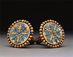 MOCHE culture North coast 100 – 800 AD  Pair of ear ornaments 100-800 AD gold, turquoise, conch shell