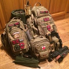 My Complete Bug Out Bag Rush Moab 10 & 6 w. Radio, Leg Rig, and Assorted Knives 2 Person Bug Out Bag + - original pinners comment Tactical Equipment, Tactical Backpack, Survival Equipment, Survival Tools, Camping Survival, Outdoor Survival, Survival Prepping, Camping Gear, Camping Equipment