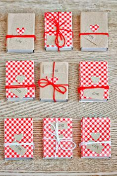 Mini gift boxes with hearts and checkered paper. Valentine's Day Gift or Wedding Favors.