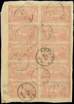 25l. 1896 Olympic Games in full sheetlet of 10 (margin at bottom) on parcel fragment canc.