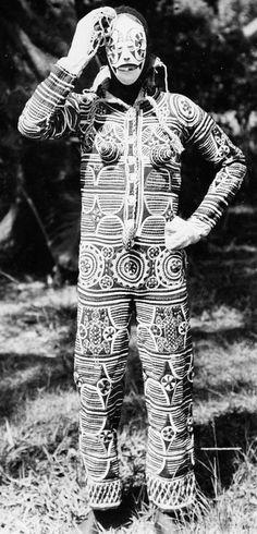 ukpuru:  Igbo Agbogho Mmuo mask and costume from Onicha, 1940s.