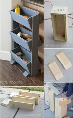 Wooden Vegetable and Fruit Organizer - 20 DIY Kitchen Organization Projects to Get a Better Kitchen