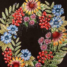 * * Please put sunflower in your heart * * #mariatrolle #mandala #wildflowerscoloringbook  #blomstermandala  #coloringbook #adultcoloringbook  #sunflower #flowerlease  #flower #おとなのぬりえ  #著作本 #大人の塗り絵 #塗り絵の本 #コロリアージュ #野の花のぬり絵ブック #マリアトロッレ #ひまわり #花のリース  #幸せになるために