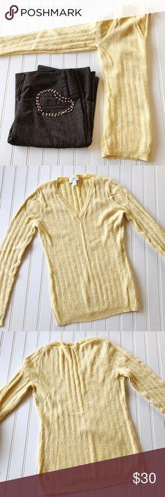 "Anne Taylor LOFT light Yellow V-neck sweater Anne Taylor LOFT light Yellow V-neck sweater.  100% Cotton   Bust 28"" Waist 26"" Length 23"" LOFT Sweaters V-Necks"
