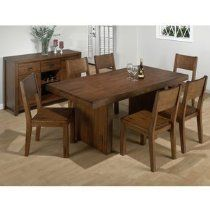 Jofran Fixed Casual Dining Table in Braeburn Rough Hewn Cherry Finish - Wood Slab Dining Table, Dining Table In Kitchen, Kitchen Chairs, Dining Room Furniture Sets, Dining Room Bench, Dining Chairs, Dining Area, 7 Piece Dining Set, Dining Sets