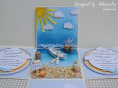 Centerpiece of the exploding box for a seaside wedding