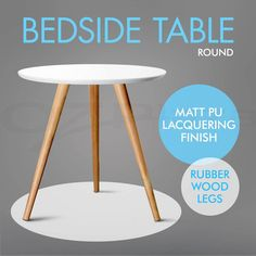 Bedside Side Table Round Lamp Coffee Table Home Office Furniture Wood White