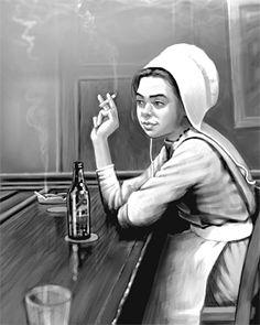 Amish Girl Smoking