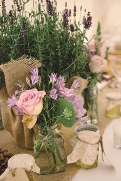 Lavender potted plant table centres