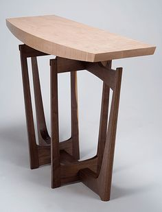 cirrus2 hall/entry table - black walnut, tiger maple, blackwood - Eben Blaney Furniture