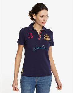 Joules BEAUFORTLARK Womens Polo, Navy. We're welcoming back an old favourite, in classic, bright colours. The only thing for you to now is take your pique!