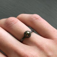 Rose Cut Sterling Silver Pyrite Ring Sale Items, Jewelry Stores, Jewelry Collection, Silver Rings, Sterling Silver, Stone, Final Sale, Sparkles, Dark