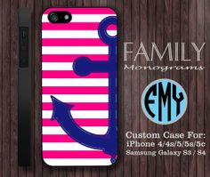 pink anchor stripes monogram hard plastic case by familymonogram, $15.99