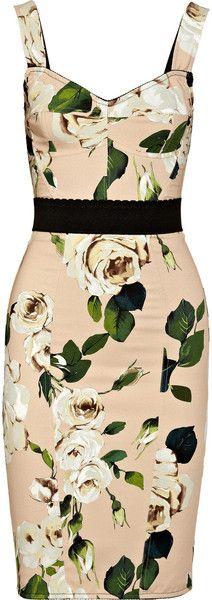 Dolce & Gabbana Roseprint Crepe Bustier Dress