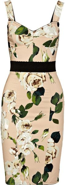 Dolce & Gabbana Roseprint Crepe Bustier Dress