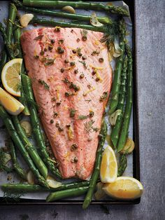 Topped with a lemony sauce, this sheet pan asparagus and salmon dinner hits all the right flavour notes. Easy Salmon Recipes, Fish Recipes, Seafood Recipes, Cooking Recipes, Healthy Recipes, Grill Recipes, Healthy Food, Salmon And Asparagus, Asparagus Recipe