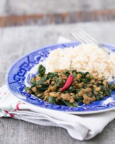 Coconut curry lentils with greens