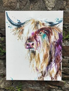 Nicola Jane Rowles - highland cattle Highland Cow Painting, Highland Cattle, Scottish Highlands, Watercolor And Ink, Cows, Farms, Photo Art, Art Ideas, Flora