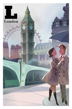 Famous city postcards