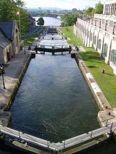 Rideau Canal, Ottawa, Ontario. Canada - Left side in photo is the Bytown Museum and to the right is the Photography Museum... Straight ahead is the Canadian Museum of Civilization, right across the river