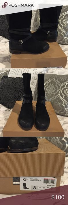 """Ugg Deanna boots Black Burnished Suede Ugg boots. Lined with breathable genuine shearling. Partial side zip. Heel approx 1"""". Boot shaft height approx 10"""". Calf circumference approx 14"""". Genuine suede and leather upper with rubber sole. Like new condition. Worn once or twice. No visible flaws. UGG Shoes"""