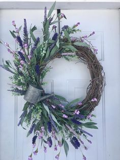 Mother's Day Wreaths For Front Door, Spring Wreaths For Front Door, Easter Wreaths For Front Door Spring Wreaths, Easter Wreaths, Summer Wreath, Wreaths For Front Door, Door Wreaths, Grapevine Wreath, Light Purple Flowers, Mothers Day Wreath, Moon Shapes