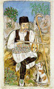 The shepherd, by Theophilos Greek naif artist Painter Artist, Artist Painting, Gouache, Modern Art, Contemporary Art, Street Art, Greek Design, Outsider Art, Naive Art