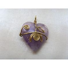 Wire wrapped Amethyst heart pendant, 40mm
