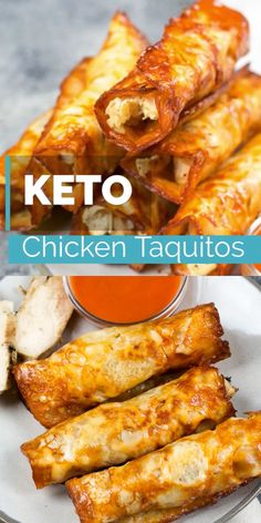 These Keto Buffalo Chicken Taquitos only have three ingredients can be made in under 10 minutes and have nearly no carbs! These Keto Buffalo Chicken Taquitos only have three ingredients can be made in under 10 minutes and have nearly no carbs! Poulet Keto, Comida Keto, Cooking Recipes, Healthy Recipes, Vegetarian Recipes, Easy Low Carb Recipes, Carb Free Meals, Keto Snacks, Low Carb Food