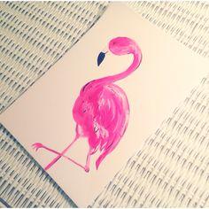 ✽pretty in pink✽  watercolor flamingo Mary Beth Kidd