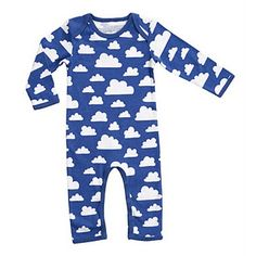 Blue and white cloud print baby bodysuit by Farg& Form. Iconic retro cloud print designed by Gunilla Axen in 1967