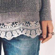 lace trim sweater + boyfriend jeans