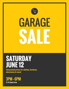 Black & Yellow Flat Event Poster Idea - Venngage Poster Examples with regard to Garage Sale Flyer Template Word - Sample Design Templates Event Poster Template, Event Poster Design, Creative Poster Design, Creative Posters, Brochure Template, Flyer Template, Flyer Design, Logo Design, Poster Templates