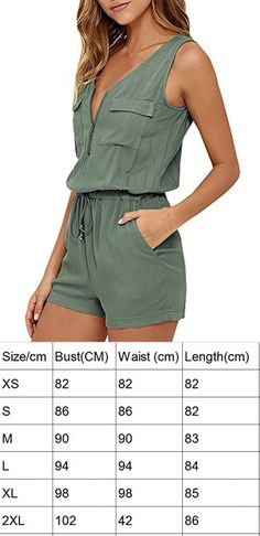 347456b4d120 YOMISOY Women Summer Solid Sleeveless Zipper Romper Army Green V Neck Short Rompers  Jumpsuits