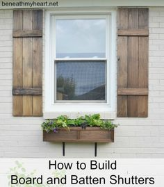 How to Build Board and Batten Shutters DIY how to build board and batten shutters curb appeal diy how to window treatments windows woodworking projects The post How to Build Board and Batten Shutters DIY appeared first on House ideas. Shutters Exterior, New Homes, Board And Batten Shutters, Updating House, House, Diy Shutters, Home, House Painting, House Exterior