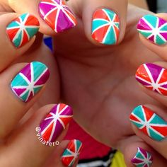 Pinwheel Nails!  I used striping tape and a little brush to get all the details just right. #nailart