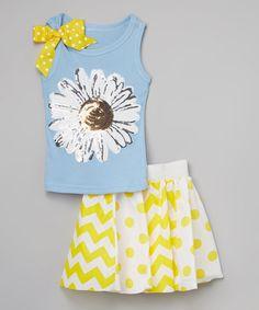 This Beary Basics Light Blue & Yellow Flower Tank & Skirt - Toddler & Girls by Beary Basics is perfect! #zulilyfinds