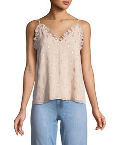 Shop Metallic Clip Ruffle Cami Top from Rebecca Taylor at Neiman Marcus Last Call, where you'll save as much as on designer fashions. Lace Top Outfits, Leather Jacket Outfits, Flowing Dresses, Metallic Dress, Rebecca Taylor, Cami Tops, Ladies Dress Design, Women Wear, Couture