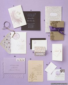 Delphine journal -- Lilac and Brown: Serene Stationery - published in Martha Stewart Weddings