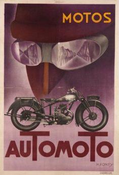MOTOS AUTOMOTO. 1930/1935 M. PONTY Imprimerie Hachard, Paris - 119x80cm