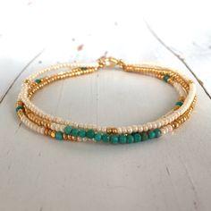 Turquoise Beaded Bracelet by onceuponakate on Etsy https://www.etsy.com/listing/385263546/turquoise-beaded-bracelet