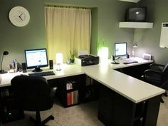 Furniture, Large Monitor Desk For Two Persons With Table Divider And Under Storage Two Units Of Flat Screen Computers A Corner Floating TV Stand  A Printer In The Middle Of Desk Two Black Movable Office Seatings Smooth And Warm Carpet ~ 2 Person Desk Design Selections