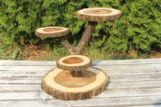 Large Log Elm Wood Rustic Cake Cupcake Stand Wedding party