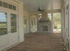 ✔ 63 back porch design ideas that will be trendy 35 Outdoor Rooms, Outdoor Living, Future House, Back Porch Designs, Screened Porch Designs, Screened In Porch, Porch Fireplace, Farmhouse Fireplace, Farmhouse Table