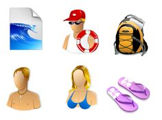 13 icons inspired in some surf things, for use in desktops, websites and blogs