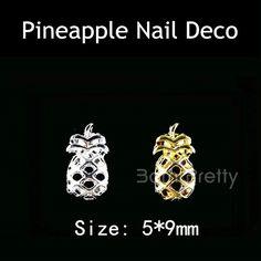 $1.59 # 22318 (2Pcs) 3D Hollow Pineapple Nail Decoration Gold Silver Metal Nail Art Decoration - ***10% Off code = GAWH10 #BornPrettyStore***   BornPrettyStore.com