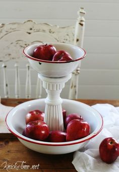 Upcycle vintage nesting bowls into a classic-looking tiered stand.