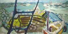 Patrick Heron The Boats and The Iron Ladder 1947 oil on panel 12 x 24 ins John Piper Artist, Victor Pasmore, Patrick Heron, Seaside Art, Seascape Paintings, Flower Paintings, Landscape Paintings, Abstract Expressionism, Abstract Art