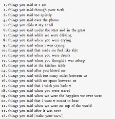 Things you said to make me fall in love with you